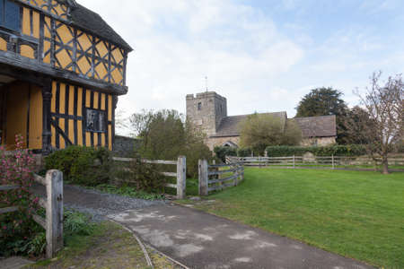 Parish church by gatehouse to Stokesay castle in Shropshire photo