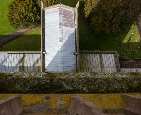 laurence: Roof of church and graveyard taken from roof of tower of parish church of St Laurence in Ludlow