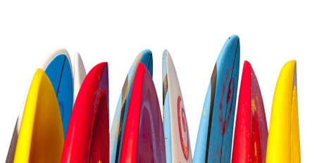 Set of different color surf boards in a stack with pen tool