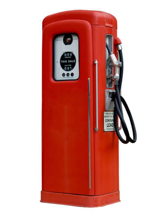 Isolation of old red petrol gasoline pump with 25c gas on dials