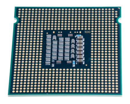 intel: Inside of computer CPU chip isolated against white