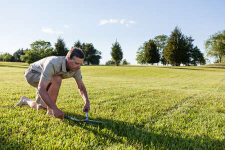Challenging task of cutting large lawn with grass shears by hand Stock Photo - 13608327