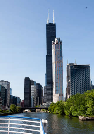 willis: CHICAGO - MAY 16: Willis Tower soars above skline on May 16, 2012. Willis Tower is the tallest building in US. Editorial