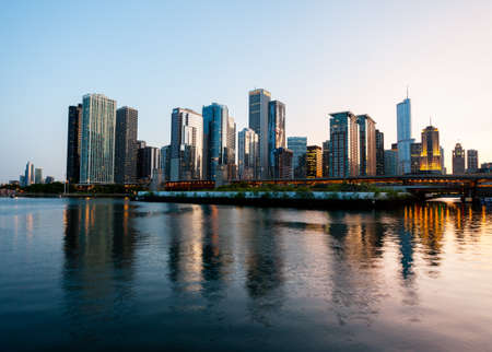 Skyline of Chicago from the Navy Pier at sunset photo