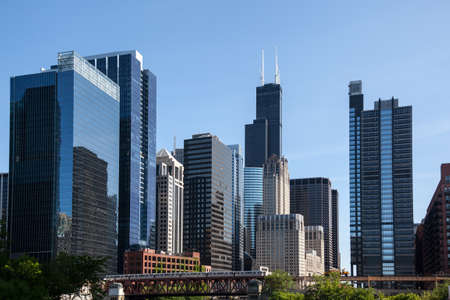 the sears tower: Skyline of Chicago from the river with Willis tower in distance Stock Photo