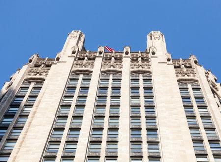 Top of Tribune Tower in Chicago in perspective shot taken from below