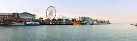CHICAGO - MAY 14  Panorama of Navy Pier on May 14, 2012  Navy Pier is a 3300 foot pier built in 1916