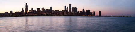 Panorama of skyline of Chicago from the old observatory at sunset photo