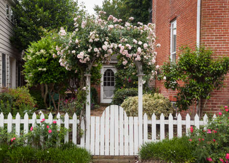 cerca blanca: Flores amarillas y rojas creciendo a lo largo de una cerca blanca en el jard�n tradicional