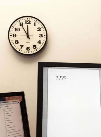 Concept for urgent decision making with clock on paper and question mark on pad Stock Photo - 14212163