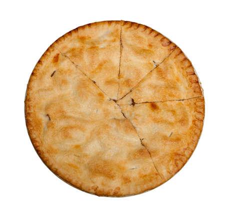 tarta de manzana: Pastel de manzana reci�n horneado caliente aislado contra blanco con el camino Foto de archivo