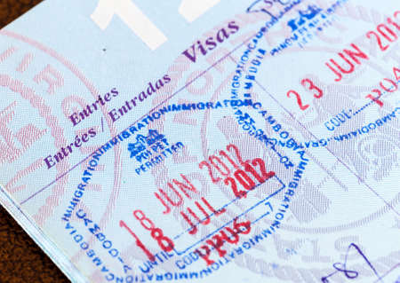 Stamps in a USA passport for Cambodia and Thailand entry visas
