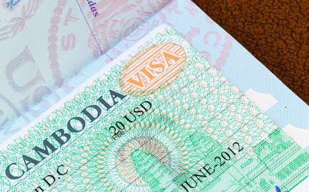 Visa in a USA passport for Cambodia