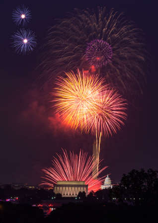 Independence Day fireworks celebrations over monuments in Washington DC