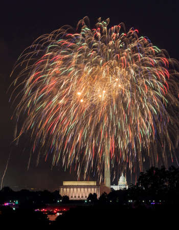 Independence Day fireworks celebrations over monuments in Washington DC photo