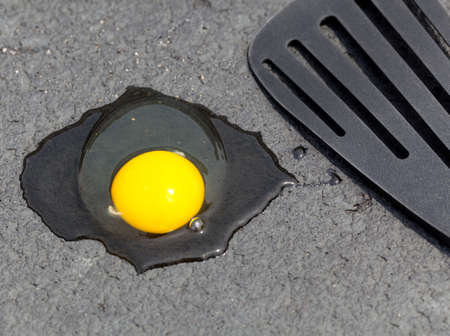 scorch: Breaking egg onto hot road surface to see if it fries in summer