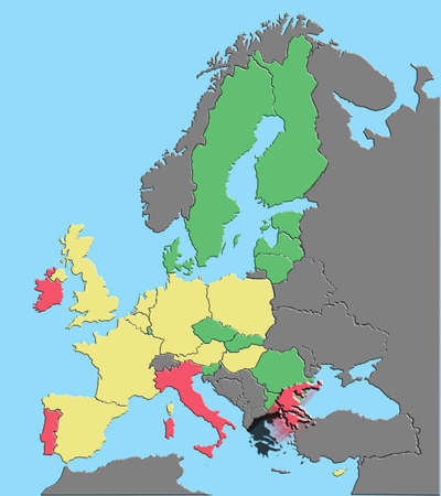 Vector illustration of Europe and EU colored by debt % GDP with Greece exiting euro 版權商用圖片