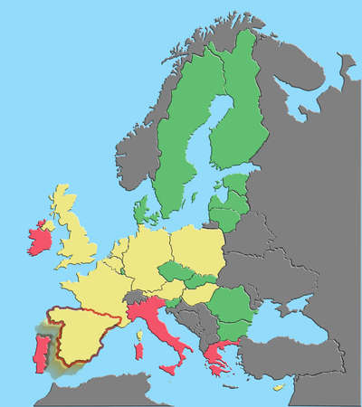 illustration of Europe and EU colored by debt % GDP with Spain exiting euro