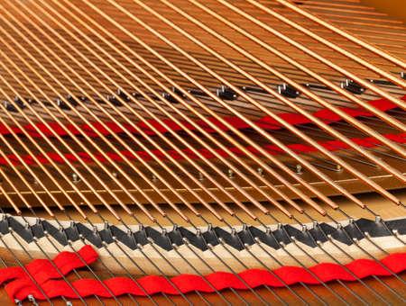 文字列、ペグ、カメラ視点に近いフォーカスとサウンド ボードを示すグランド ピアノの詳細なインテリア