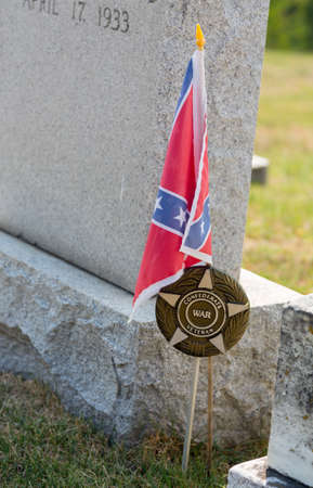 Gravestones of confederate civil war veterans in St Ignatius  church in the USA in Maryland