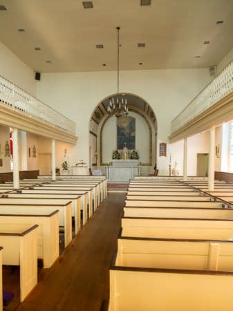 Interior of St Ignatius oldest continuously used church in the USA