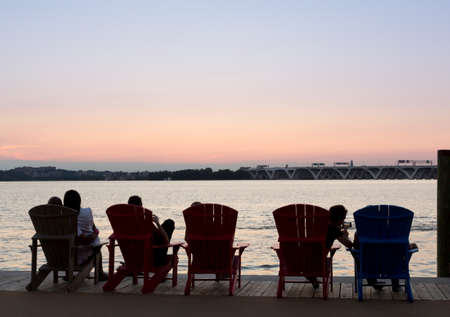 wilson: Sunset over the potomac river by Woodrow Wilson bridge on Beltway in National Harbor Stock Photo
