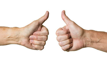 Pair of caucasian hands in thumbs up gesture of senior middle aged male isolated against white photo