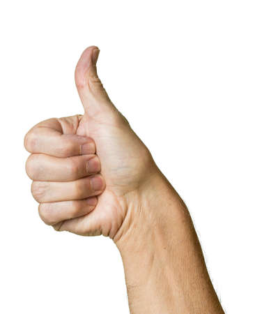 Caucasian hands in thumbs up gesture of senior middle aged male isolated against white Stock Photo - 14946035