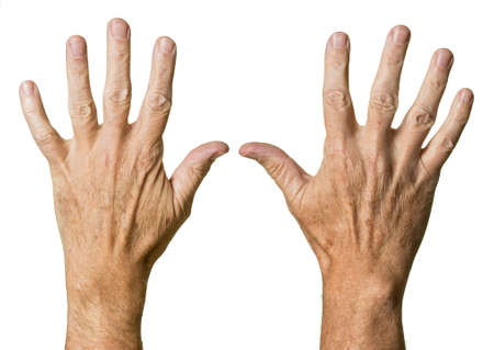 Pair of caucasian hands of senior middle aged male isolated against white photo