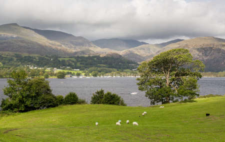 lake district: View over Coniston Water in English Lake District Stock Photo