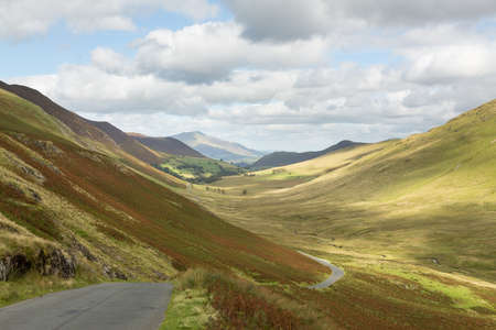 cumbria: View over Newlands Valley from pass showing steep sided mountains and hills in English Lake District