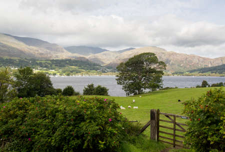 british weather: View over Coniston Water in English Lake District Stock Photo
