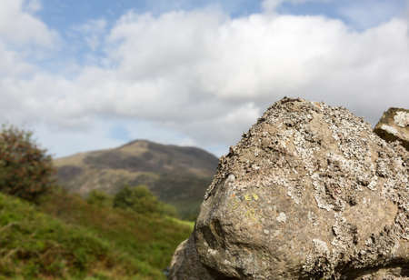 cumbria: Lichen or moss covered rock or boulder in English Lake District