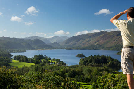 viewpoint: Panorama of Derwentwater in English Lake District from Castlehead viewpoint in early morning Stock Photo