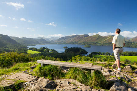 Panorama of Derwentwater in English Lake District from Castlehead viewpoint in early morning Stock Photo - 15369743