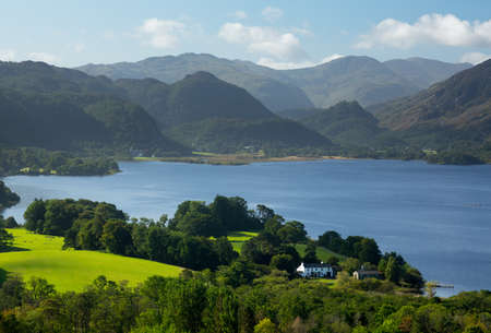 Panorama of Derwentwater in English Lake District from Castlehead viewpoint in early morning Stok Fotoğraf