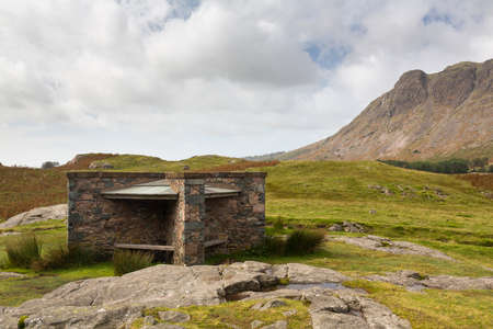 cumbria: Shelter for walkers and hikers in Wastwater in English Lake district