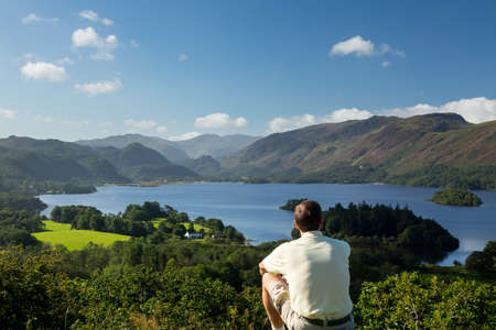 borrowdale: Panorama of Derwentwater in English Lake District from Castlehead viewpoint in early morning Stock Photo