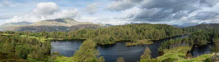 Panoramic view over Tarn Hows in English Lake District