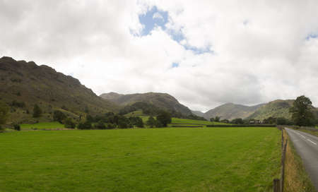 borrowdale: Rural meadows in Borrowdale in English Lake District Stock Photo