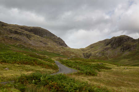 Steep hairpin bends on Handknott pass in English Lake District photo