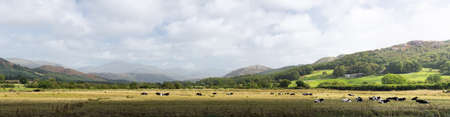 cumbria: Rural scene in english lake district in panorama format