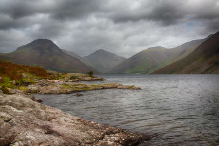 Wastwater or Wast Water in English Lake District on cloudy day photo