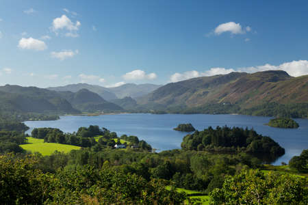 cumbria: Panorama of Derwentwater in English Lake District from Castlehead viewpoint in early morning Stock Photo