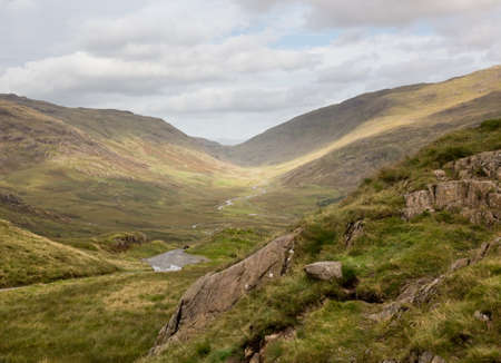 cumbria: Steep hairpin bends on Handknott pass in English Lake District