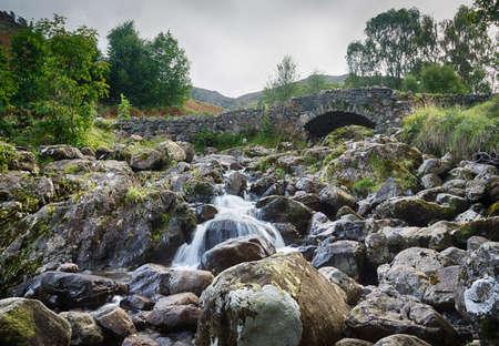 Traditional stone Ashness Bridge in English Lake District Stock Photo