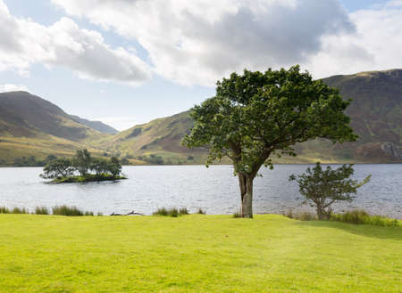cumbria: View of Crummock Water past trees and island in English Lake District