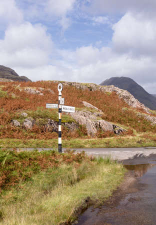 cumbria: Old british road sign in Lake District at Wasdale or Wastwater