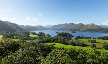 lake district england: Panorama of Derwentwater in English Lake District from Castlehead viewpoint in early morning Stock Photo