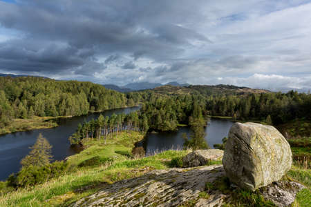 Panoramic view over Tarn Hows in English Lake District Stock Photo - 15363336